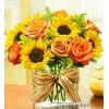 Sunflowers and Peach Roses at Alamo Heights Flowers and More
