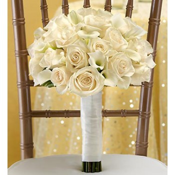 All White Bridal Bouquet by Alamo Heights Flowers and More