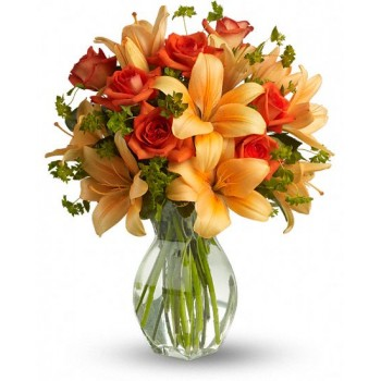 Fiery Lily and Rose by Alamo Heights Flowers and More