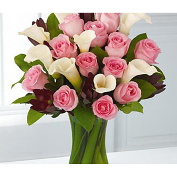 Calla lilly and Pink Roses surprise by Alamo Heights Flowers and More