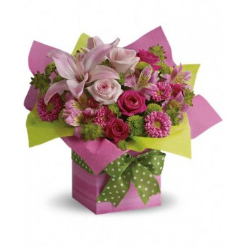 Pretty Pink Present by Alamo Heights Flowers and More